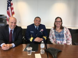 "(From left to right) Gary Rasicot (CG-1D), Rear Adm. Michael Johnston (CG-93), and Janet Williams (DHS - moderator) pose for a photo at a ""How Inspiring Leaders Build a Culture of Engagement"" event."