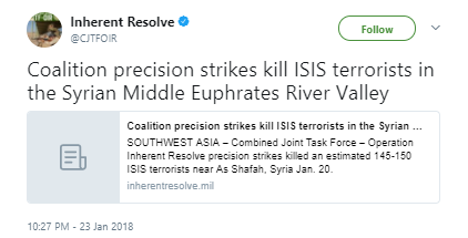 Inherent Resolve - US Coalition airstrikes kill 150 ISIS terrorists in Syria