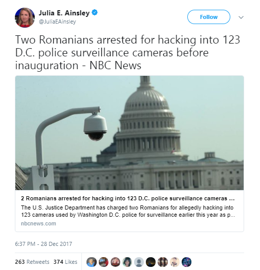 Julia E. Ainsley - D.C. surveillance cameras were hacked days before Donald Trump's presidential inauguration