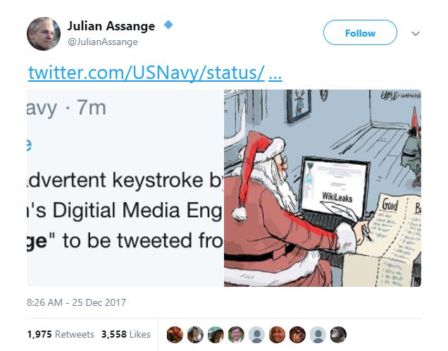 Julian Assange - Navy sends inadvertent tweet about Julian Assange, and Assange replies