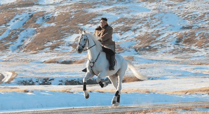 Kim Jong Un poses for photos riding a white horse up a mountain. The internet has thoughts