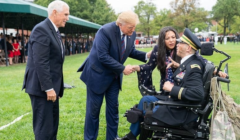 Trump sings 'God Bless America' with wounded vet