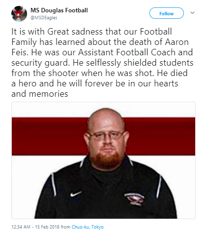 MS Douglas Football - Beloved Florida high school football coach who shielded students from gunfire dies
