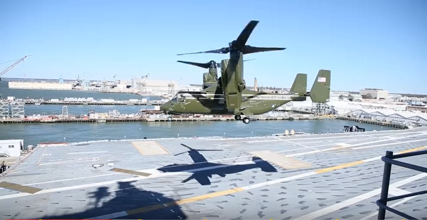 Watch Marine One Arrive & Depart The USS Gerald R. Ford During President Trump's Visit Featured