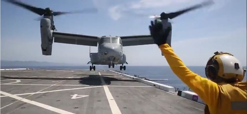 Marine Osprey In Action - (VIDEO) Watch U.S. Marines Conduct Flight Operations From The Deck Of The USS San Diego