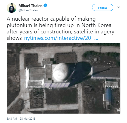 N.Korea 'Testing New Nuclear Reactor'