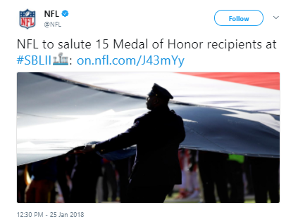 NFL - 15 Medal of Honor recipients will be saluted at Super Bowl LII