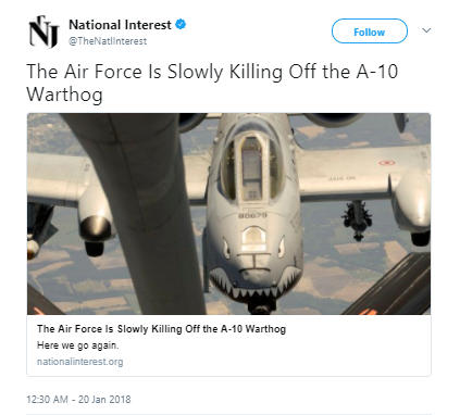 National Interest - 110 A-10s in jeopardy of extinction if Air Force can't pay for new wings