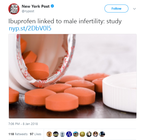 New York Post 1- Study Favorite'Grunt candy ibuprofen may lead to male infertility