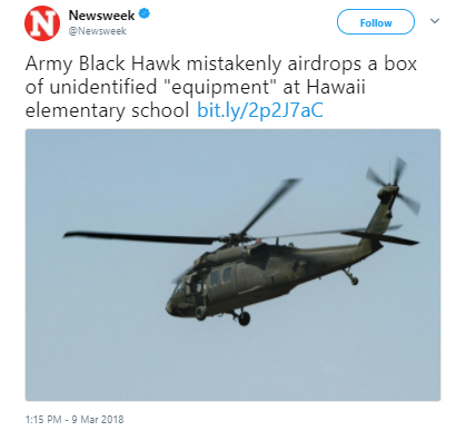 Newsweek 2 - Black Hawk helicopter accidentally drops 90 pounds of equipment on HI school