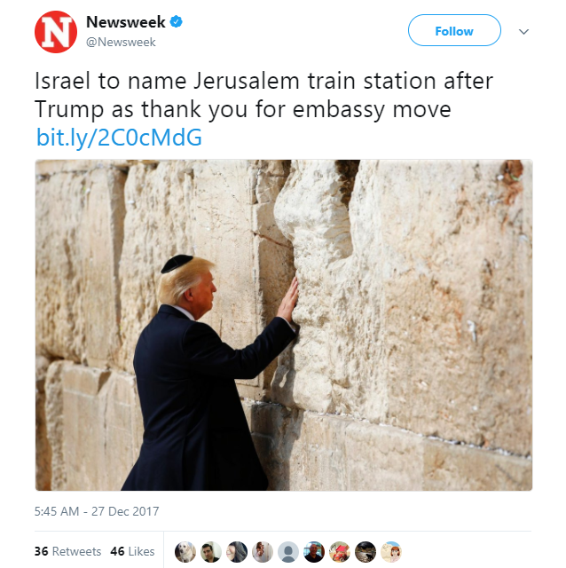 Newsweek - Israel plans to name new Western Wall train station after President Trump