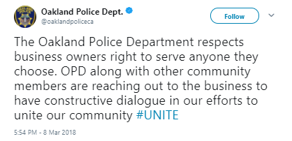 Oakland Police Department - Cali. coffee shop refuses to serve cops to 'protect physical and emotional safety' of customers