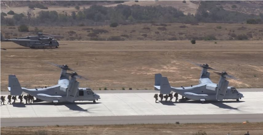 Massive Flight Formation Of The Largest U.S. Helicopter And VTOL : V-22 Osprey And CH-53 Featured