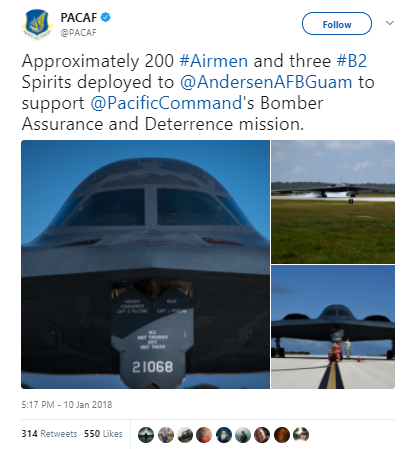 US Sends 3 B-2 Spirit Stealth Bombers to Guam