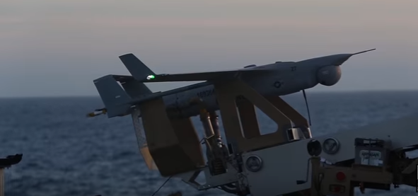 """RQ - Watch A Drone Aircraft """"Landing"""" Using The """"Skyhook Recovery System"""""""