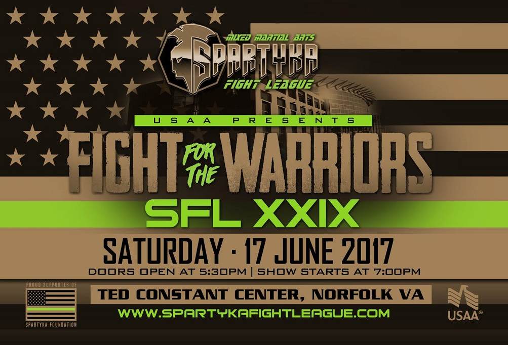 SFLXXIX flyer - Spartyka Foundation hosts charity fight night event for wounded warriors, vets