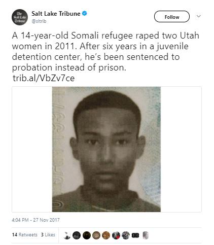 Salt Lake Tribune - Somali refugee who raped two Utah women when he was 14 avoids jail time