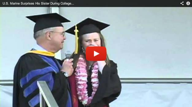 (VIDEO) U.S. Marine Surprises Sister In The Middle Of Her Graduation Featured