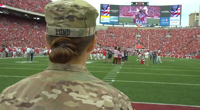 (VIDEO) Army Captain Suprises Daughter At Wisconsin Badgers College Football Game Featured