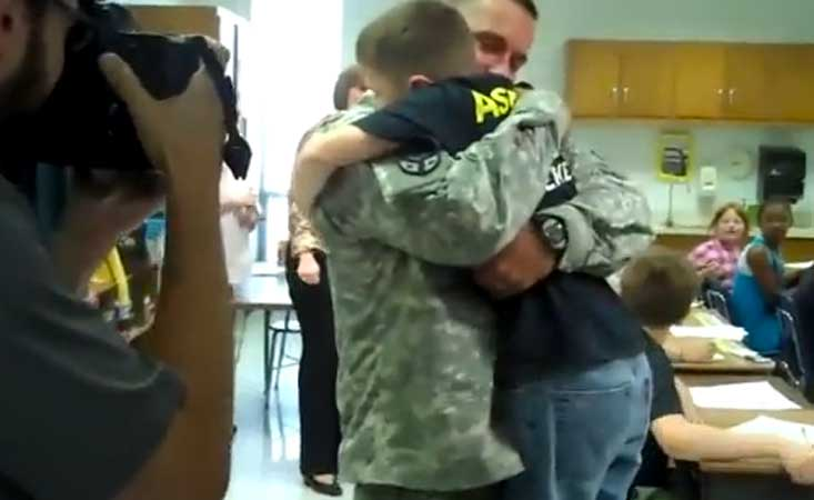 Video: Soldier Home from Iraq Surprises Kids at School Featured
