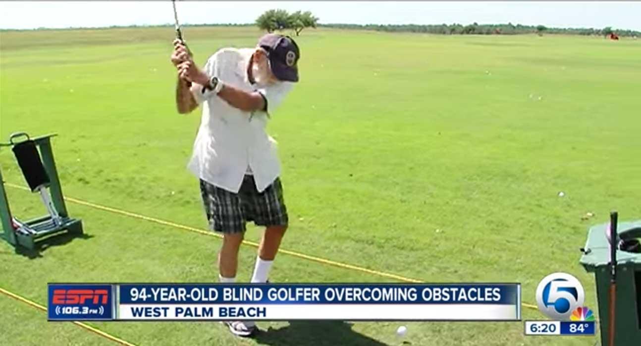 (VIDEO) Blind 94 Year-Old WWII & Korean War Veteran Picks Up A New Sport…Golf! Featured