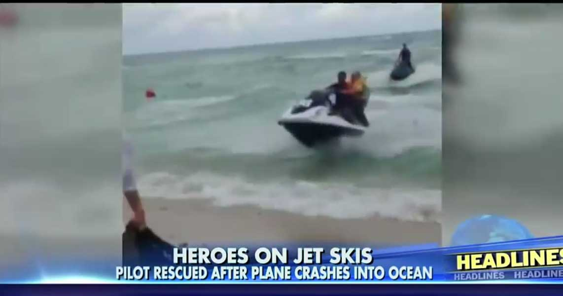 Heroes On Jet Skis Save Pilot After His Banner Plane CRASHES In Florida Featured