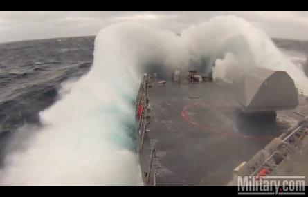 USS Ft. Worth Takes On Rough Seas Featured