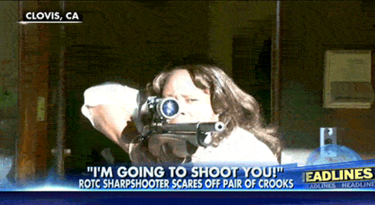 "Female Former ROTC ""Sharpshooter"" With Rifle Chases Off Armed Robbers In Her Yard Featured"