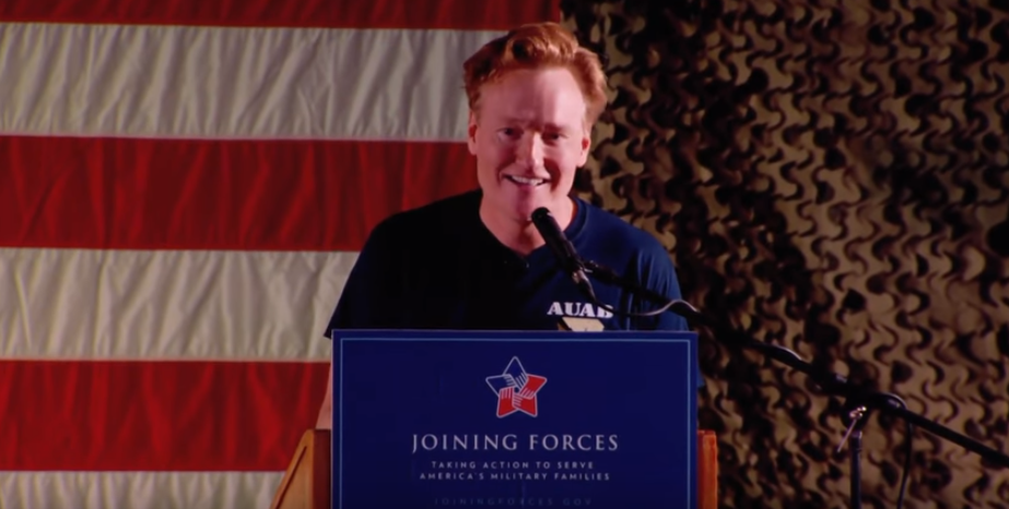 Watch Conan O'Brien Put On A Hilarious Show For The Troops At Al Udeid Air Base Featured