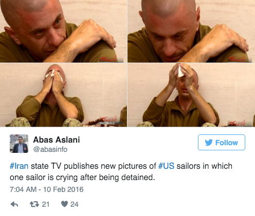 Screen Shot 2016 02 10 at 10.18.19 AM - Iran Infuriatingly Releases Photos Of Captured American Sailor Crying After Kerry & Obama Give Them Billions