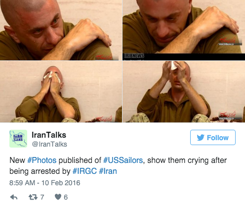 Screen Shot 2016 02 10 at 10.18.29 AM - Iran Infuriatingly Releases Photos Of Captured American Sailor Crying After Kerry & Obama Give Them Billions