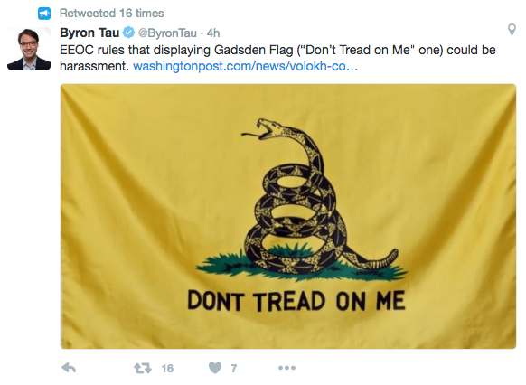 "Screen Shot 2016 08 04 at 3.59.56 PM - Government Ruling: Wearing ""Don't Tread On Me"" Gadsden Flag Can Be Racist & ""Racial Harassment"""
