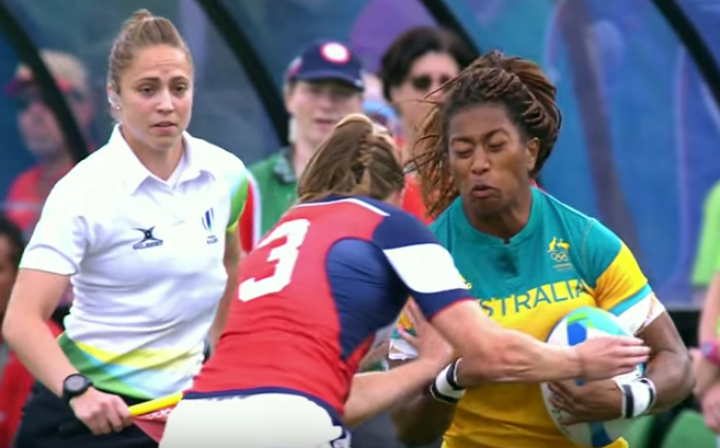 Watch A U.S. Olympic Women's Rugby Player Lay Out Monstrous Hit On Australian Player Featured