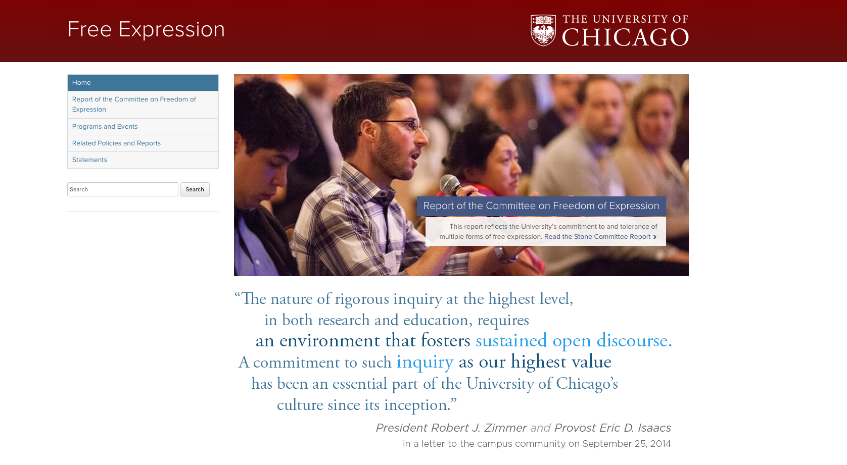 Webpage found in letter to incoming freshmen at the University of Chicago