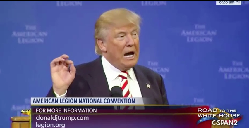 "Donald Trump at American Legion: Takes Jabs At Clinton and Advocates For ""Americanism, Not Globalism."" Featured"
