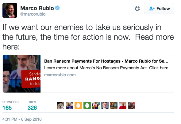 Screen Shot 2016 09 07 at 10.54.19 AM - Entire $1.7 Billion Paid In Cash to Iran - Rubio Files Bill To Forbid U.S. Government Paying Ransom To Iran Ever Again