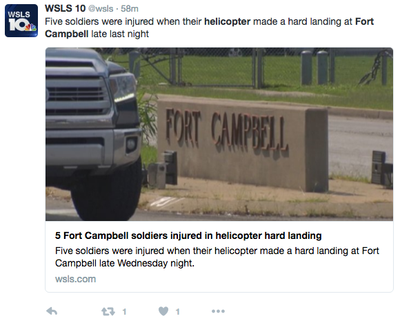 Screen Shot 2016 09 08 at 9.49.14 AM - Hard Landing At Fort Campbell Injures Five Soldiers