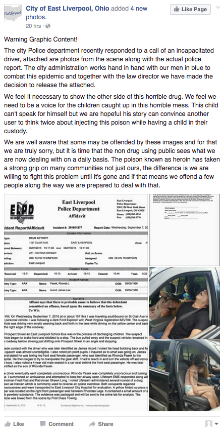Screen Shot 2016 09 09 at 1.45.00 PM - Ohio Police Post Graphic Photos Of Parents Overdosing On Heroin In Front Of Their Kids To Shock Community