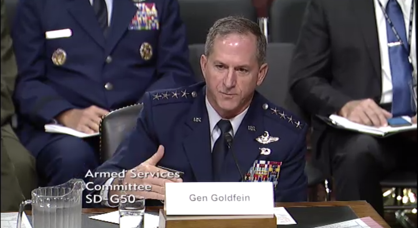 General Goldfien testifying before the Senate Armed Services Committee Thursday, September 15, 2016.