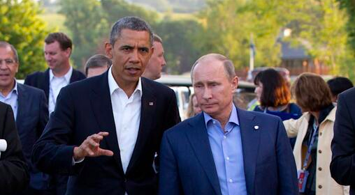 President Obama with Russian President Vladimir Putin.