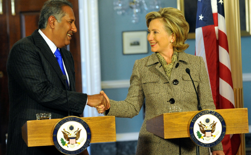 Hillary Clinton with the Qatari Foreign Minister during her time as Secretary of State.