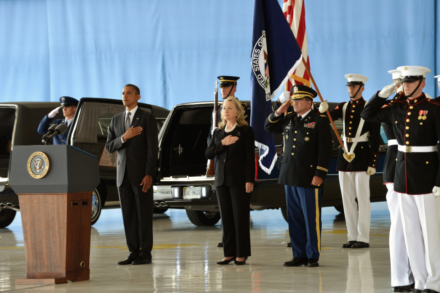 Obama and Clinton at Transfer of Remains Ceremony for Benghazi attack victims Sep 14, 2012.
