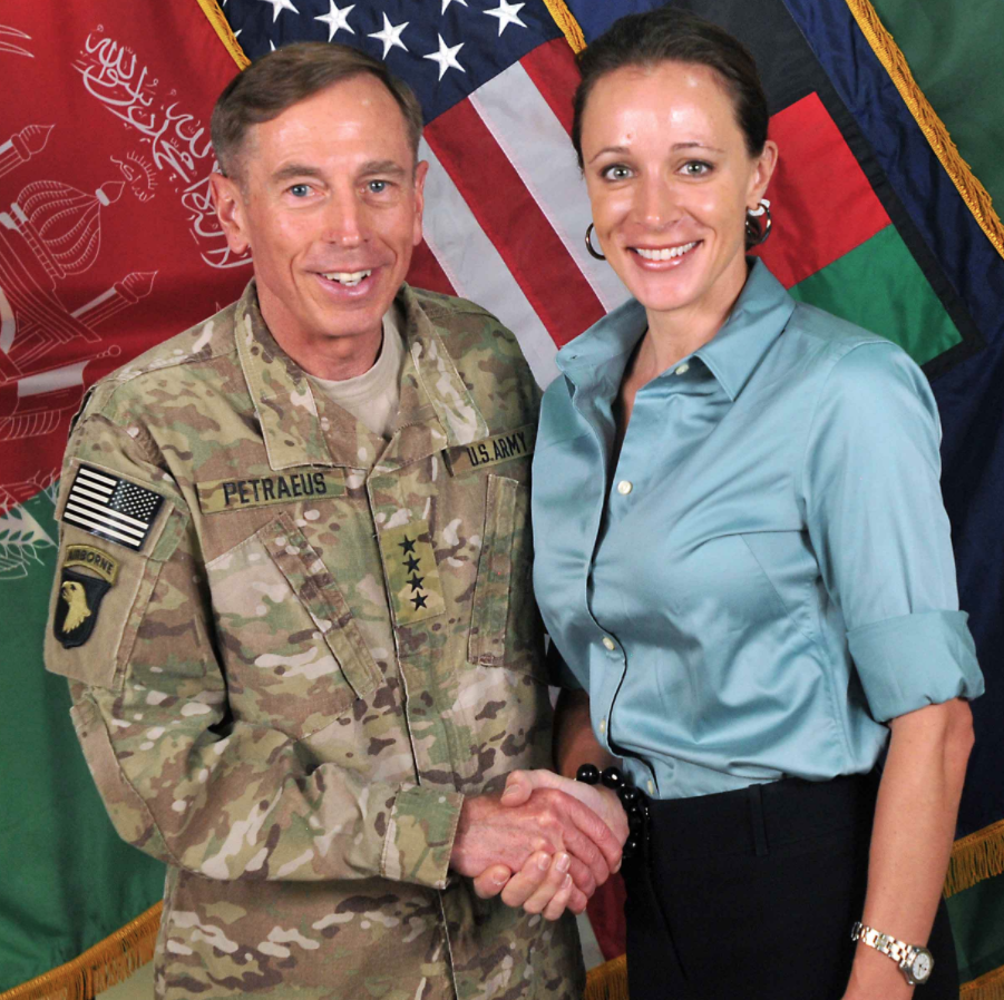 General David Petraeus with Paula Broadwell, his biographer and mistress who he shared classified info with.