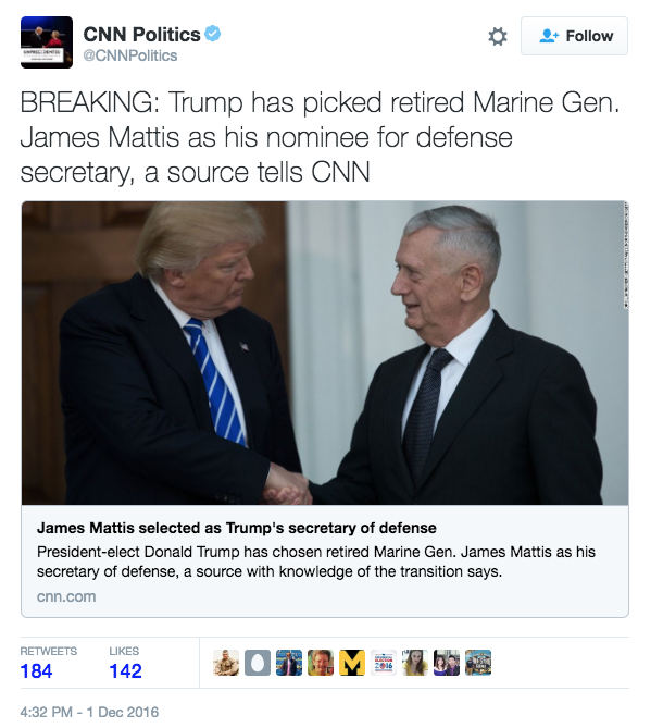 "BREAKING [UPDATED]: IT'S OFFICIAL: Trump Nominates Gen. James ""Mad Dog"" Mattis To Be Secretary Of Defense breaking news Featured"