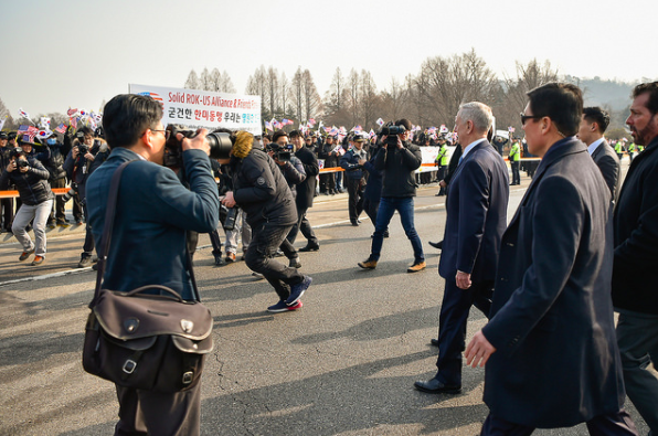 Mattis walks towards South Koreans that are eagerly waiting to meet the new U.S. Secretary of Defense.