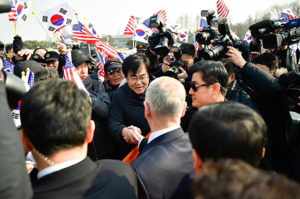 South Koreans happy to meet America's new Defense Secretary who promises to protect them.