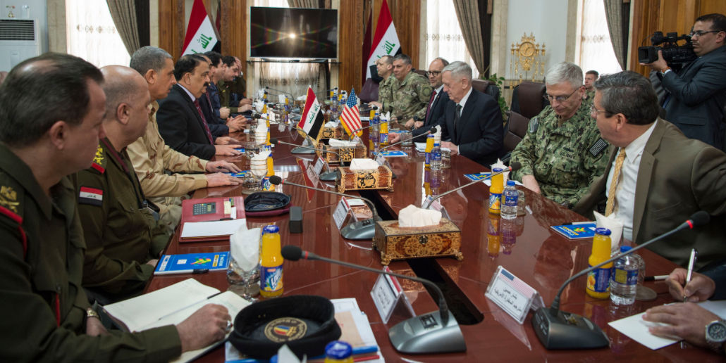 Secretary of Defense Jim Mattis meets with Iraqi Minister of Defense Arfan al-Hayali at the Ministry of Defense in Baghdad, Iraq, Feb. 20, 2017.