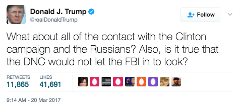 Screen Shot 2017 03 20 at 1.36.02 PM - President Trump Live-Tweets During Russia Intel Hearing