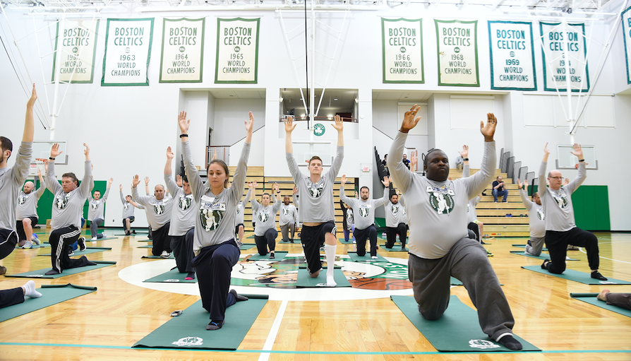 U.S. Military Members Team Up With The Boston Celtics For Yoga Featured