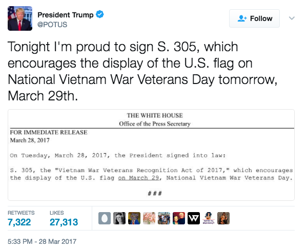 Screen Shot 2017 03 29 at 9.23.16 AM - Trump Signs Bill To Encourage Displaying Flag In Honor Of Vietnam Vets